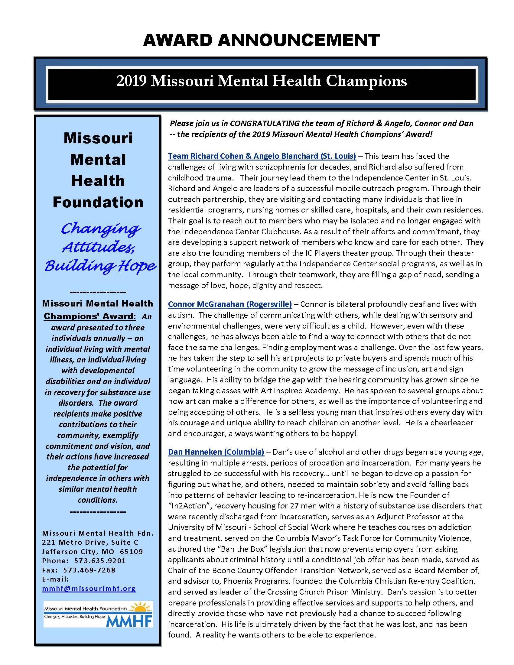 2019 Mental Health Champions' Awards Banquet | Missouri